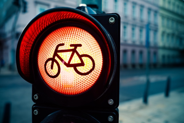 Red traffic light with bicycle sign